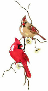 Two Cardinal Birds On Yellow Flower Branch Metal Wall Sculpture by Bovano W4431 $145.00