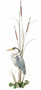 Large Great Blue Heron w Cattails Metal Bird Wall Art Sculpture by Bovano W365L