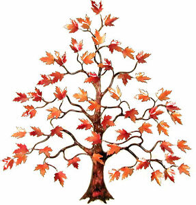 Maple Tree w Red Enameled Leaves Metal Wall Sculpture- Bovano of Cheshire W102