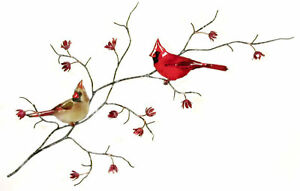 Double Cardinal Birds MetalCopper Wall Art Sculpture- Bovano of Cheshire W4441