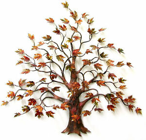 Large Maple Tree w Enameled Autumn Leaves Metal Wall Sculpture by Bovano W95 $1,800.00