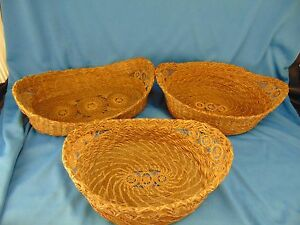 3 Antique Baskets oval shaped rattan grass filigree victorian art craft beauty $39.99