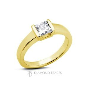 1.53ct G-SI3 Ideal Princess Cert Diamond 18k Gold Classic Solitaire Ring 3.8mm