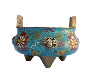 Chinese Bronze Turquoise Cloisonne Tri legs Incense Burner cs644 SF1
