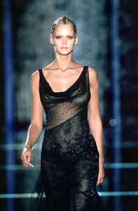 $57600 SS99 VERSACE ATELIER RUNWAY BLACK BEADED DRESS WORN BY CARMEN