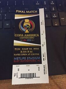 2016 COPA AMERICA SOCCER CHILE VS ARGENTINA FINAL MATCH 626 TICKET STUB