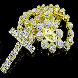 Men Cluster Flower Rosary Necklace Lab Diamond Link Set Chain Yellow Gold Finish