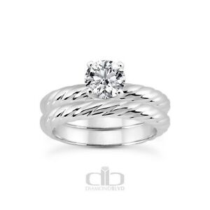 6.36 CT DVS1VG Round Earth Mined Diamond Platinum Rope Classic Bridal Set 8gr