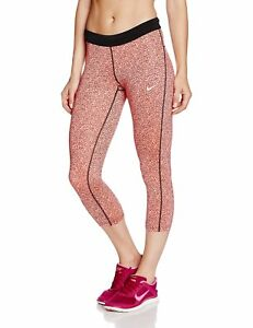 Nike Women's Dri-Fit AOP Relay Crop Running Tights-Coral