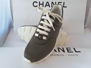 NIB 2017 CHANEL Classic Canvas KHAKI Trainer Tennis Sneakers Sport EU 35-42