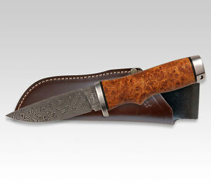 LINDER GERMAN EXCLUSIVE DAMASCUS HUNTING KNIFE  AMBOINA  3.54
