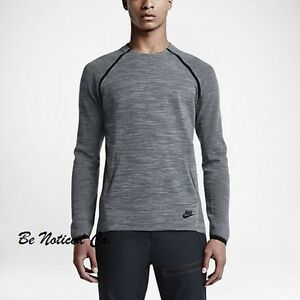 Nike Tech Knit Crew Men's Shirt 2XL Gray Black Top Sweatshirt Gym Casual New