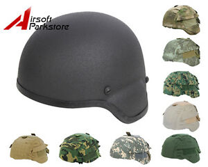 Tactical MICH 2000 Glass Fiber Helmet Black w Helmet Cover Military Paintball
