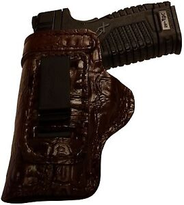 HEAVY DUTY ALLIGATOR BROWN CUSTOM OWB Leather Gun Holster U CHOOSE:rhlh-mag