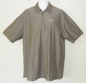 LIMITED~TIGER WOODS~Nike Dri-Fit ZP TEXTURE Golf TOUR COLLECTION Polo Shirt~Sz L