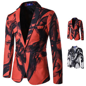 Personalized Mens One Button Blazer Stylish Slim Fit Jacket Casual Coat