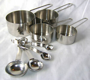 NEW 8 PIECE MEASURING SPOONS AND CUPS SET STAINLESS STEEL APOLLO