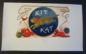 Original Old Antique KIT KAT CIGAR BOX Inner LABEL Gold and RED CATS $99.99