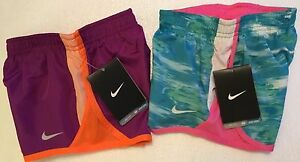 2 NIKE Girls Tempo Gym Active Running Shorts 262778-699 Blue Pink Youth Sz 4T