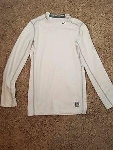 Boys L Nike Pro Combat Compression Shirt Therma Hyperwarm Mock Fit Dry White