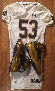 Notre Dame Football 2014 Under Armour Game Used Away Jersey & Cleats #53