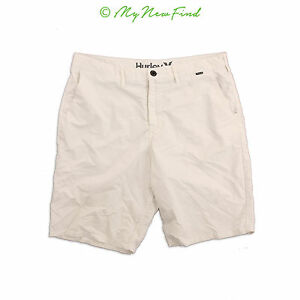 HURLEY MEN'S 'DRY OUT' NIKE DRY-FIT CASUAL SHORTS WHITE SIZE 34 B94