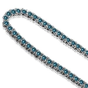 23 Carat Blue Diamond One 1 Row Mens Man Designer Chain Necklace 10K White Gold