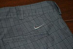 8682-a Mens Nike Golf Shorts FLAT Front Dri-Fit Polyester Gray Plaids Size 40