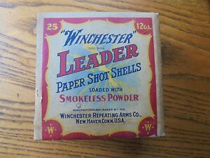 Antique WINCHESTER LEADER PAPER SHOT 12 GA  SHELL BOX Empty