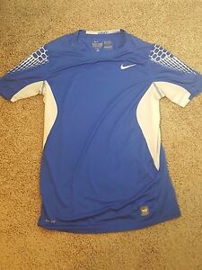 Boys Youth XL Nike Pro Combat Fitted Shirt Short Sleeve Fit Dry White Blue
