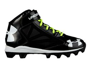 Under Armour YOUTH Kids Crusher Jr. Black White Football Shoes Cleats