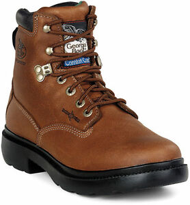 Georgia Men#x27;s Farm and Ranch Waterproof Lace Up Work Boots Brown G6503