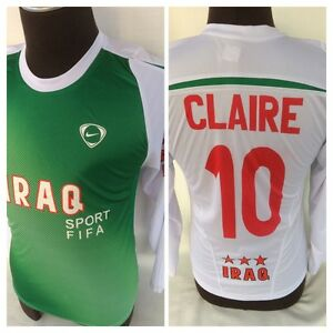 NIKE FIT DRY IRAQ SOCCER  LS SHIRT JERSEY FIFA FUTBOL EUC YOUTH LARGE CLAIRE 10