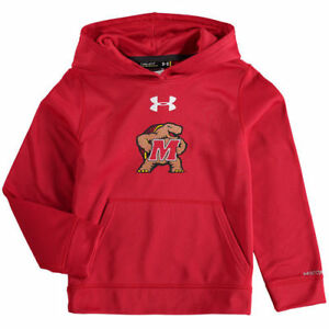 Under Armour Maryland Terrapins Youth Red Armour Fleece Pullover Hoodie