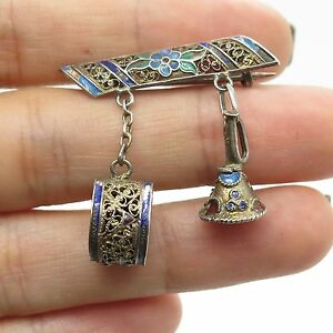 Antq 925 Sterling Silver Enamel Filigree Musicial Instrument Pin Brooch