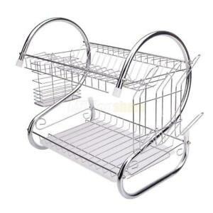 Hot Kitchen Dish Cup Drying Rack Drainer Dryer Tray Cutlery Holder Organizer US $14.99