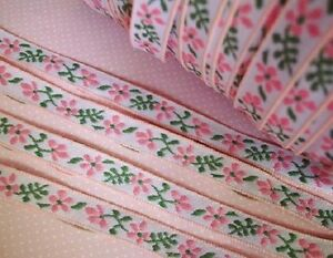 8 yards Pink Green Floral Embroidery 12mm Trim Lace Dress trimming sewing T152 $7.65