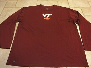 Nike Virginia Tech Hokies College Basketball Team Issued LS Dry Fit Shirt 3XL 56