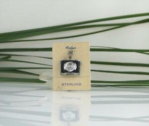 Vintage Sterling 3D Photo Picture Camera Locket FISHER Bracelet Charm Opens 70's