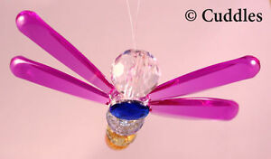 Crystal Expressions Beaded Hanging Dragonfly Purple Good Luck Ganz Suncatcher N
