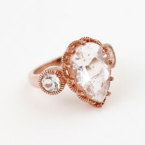 Large Designer ROSE GOLD Plated Sterling Silver & Clear Stone Cocktail Ring Sz 7