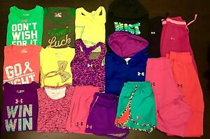 YOUTH UNDER ARMOUR LOT OF 20 Tshirts Crops Hoodies LargeXlarge