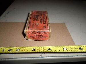 Rare Vintage WINCHESTER Ammo 32 Short Rim Fire Stayless 1871 Stetsons Rifle Box