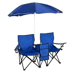 Picnic Double Folding Table Chair With Umbrella Table Cooler Fold Up Beach Chair