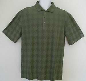 RARE~Nike Tiger Woods PLATINUM HOUNDSTOOTH JACQUARD Golf Polo Shirt Top~Men sz M