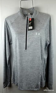 Under Armour Woman's UA Tech XL Loose fit Heathered Hal Zip Top LS Gray NEW NWT