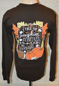 Women's Girlie Girl Pumpkins Bonfires Football Long Sleeve Brown T-Shirt Top Sma