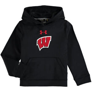 Under Armour Wisconsin Badgers Youth Black Pullover Performance Hoodie