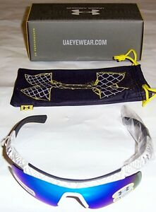 Under Armour Dynamo Youth Shiny White Frame wGray Rubber & Blue Mirror Lens