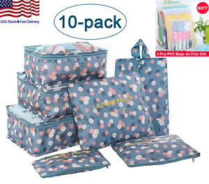 Travel Storage Bags Cubes Clothing Sorting Travel Luggage Organizer Pouch 10pcs